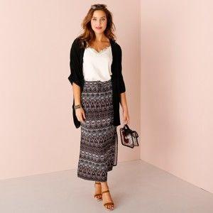 Blancheporte Dlouhá sukně s etno vzorem černá/bílá/korálová 54