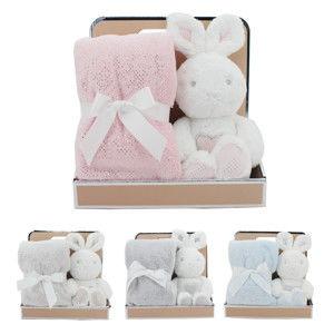 Blancheporte Plyšový králíček s dekou bílá/béžová králíček 30cm, deka 75x90cm