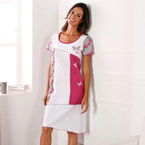Blancheporte Asymetrická noční košile s potiskem a krátkými rukávy bílá 42/44
