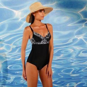 Blancheporte Jednodílné plavky s kosticemi černá 42