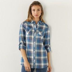 Blancheporte Košile s potiskem, kostkovaná tyrkysová/šedá 36