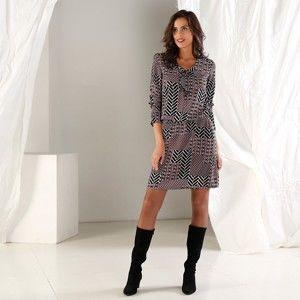 Blancheporte Šaty s grafickým vzorem černá/paprika 40