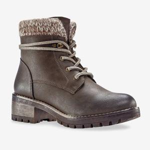 Blancheporte Hřejivé boty s úpletovým lemem, šedobéžové hnědošedá 37