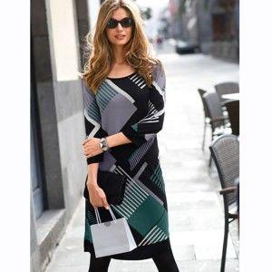 Blancheporte Úpletové šaty s potiskem černá/zelená 54