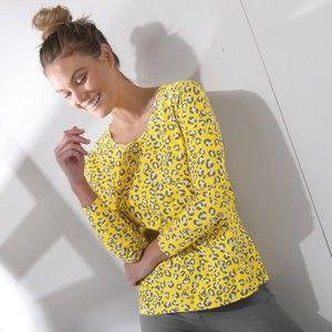 Blancheporte Tričko s designem zvířecí srsti žlutá 34/36
