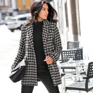 Blancheporte Kabát se vzorem kohoutí stopy černá/bílá 36