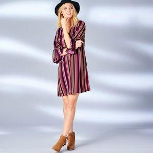 Blancheporte Šaty s potiskem pruhů švestková/karamelová 46