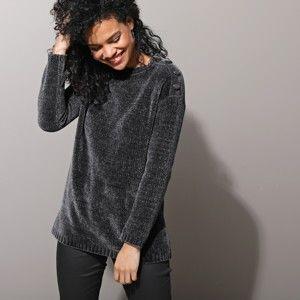 Blancheporte Pletený pulovr, žinylka šedá 54