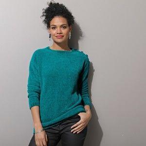 Blancheporte Pletený pulovr, žinylka zelená 42/44