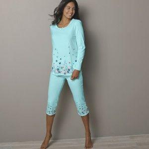 Blancheporte Krátké pyžamové kalhoty s kytičkovým potiskem bledě modrá 52