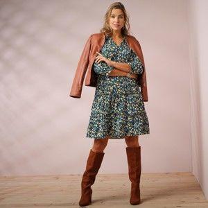 Blancheporte Volánové šaty s potiskem modrá inkoustová 44