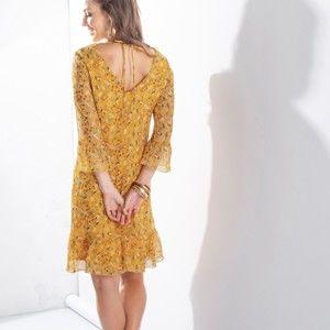 Blancheporte Voálové šaty s potiskem medová/modrá 44
