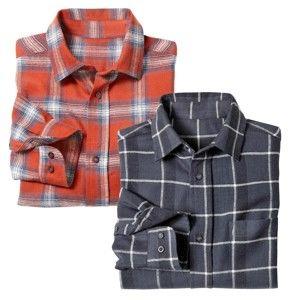 Blancheporte Flanelová kostkovaná košile, 2 ks antracitová+oranžová 49/50
