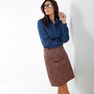 Blancheporte Rozšířená sukně se vzorem kostky karamelová/korálová 38