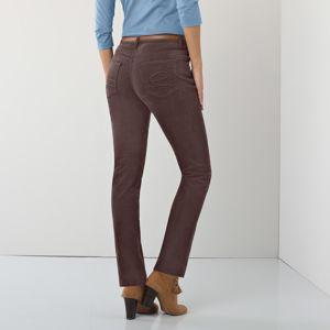 Blancheporte Rovné manšestrové kalhoty čokoládová 50