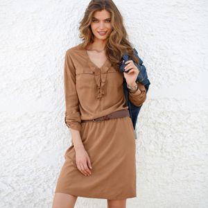 Blancheporte Jednobarevné šaty oříšková 50