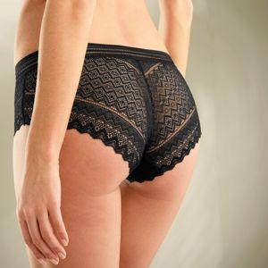 Blancheporte Krajkové kalhotky shorty s ažurovým páskem černá 38/40