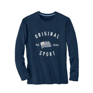 Blancheporte Pyžamové triko s dlouhými rukávy modrá 77/86 (S)