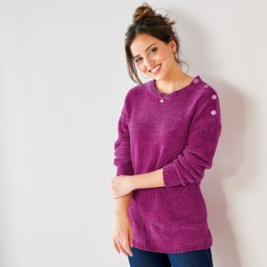 Blancheporte Pletený pulovr, žinylka purpurov 52