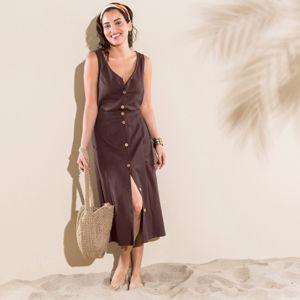 Blancheporte Jednobarevná sukně s knoflíky čokoládová 40