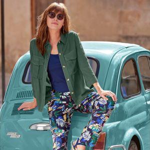 Blancheporte Kalhoty s potiskem nám.modrá/zelená 44