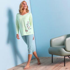 Blancheporte Pyžamové tričko s dlouhými rukávy, středový potisk motýlů anýzová 46/48