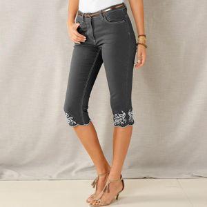 Blancheporte Korzárské kalhoty s výšivkou šedá 50
