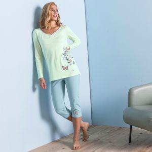 Blancheporte Pyžamové 3/4 kalhoty se středovým motivem motýlů anýzová 52