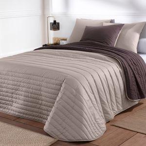 Blancheporte Prošívaný přehoz na postel, dvoubarevný hnědošedá+čokoládová 150x150cm
