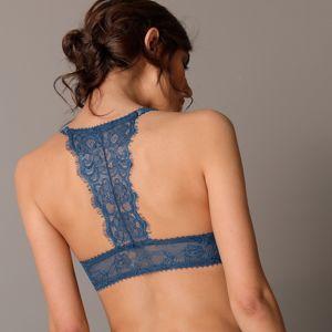 Blancheporte Krajková podprsenka s plaveckými zády, s kosticemi temně modrá,koš.D 75