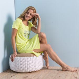"""Blancheporte Krátká noční košile s potiskem """"Morning"""" žlutá 56"""