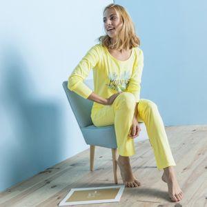 Blancheporte Pyžamo s dlouhými rukávy, bavlna, potisk Morning žlutá 46/48