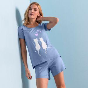 """Blancheporte Pyžamo se šortkami a krátkými rukávy, potisk """"koček"""" modrá 52"""
