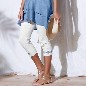 Blancheporte Korzárské kalhoty s výšivkou bílá 52