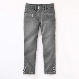Blancheporte Džínové 3/4 kalhoty s knoflíky na koncích nohavic šedá 40