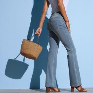 Blancheporte Strečové bootcut džíny v opraném vzhledu sepraná modrá 44