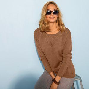 Blancheporte Ažurový pulovr s kulatým výstřihem oříšková 50