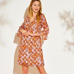 Blancheporte Voálové šaty s potiskem bordó/medová 52