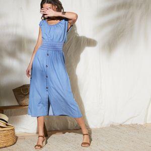 Blancheporte Denimové šaty se žabičkováním modrá 40