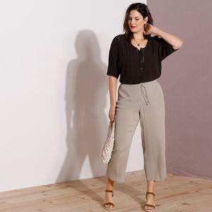 Blancheporte 7/8 široké kalhoty ze vzdušného kreponu béžová 48