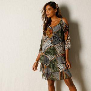 Blancheporte Voálové šaty s potiskem černá/zelená 46