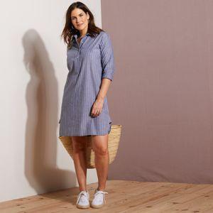 Blancheporte Pruhované šaty s dlouhými rukávy šedá 46
