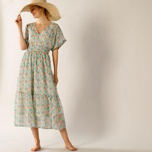 Blancheporte Dlouhé šaty s potiskem květin režná/modrá 50