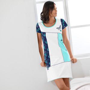 Blancheporte Asymetrická noční košile s potiskem a krátkými rukávy bílá/nám. modrá 34/36