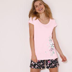 Blancheporte Pyžamové tričko se středovým potiskem květin růžová 34/36