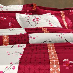 Blancheporte Povlečení Kimori, bavlna červená povlak na přikrývku 240x220cm