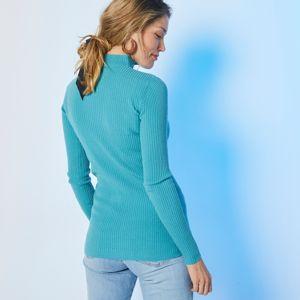 Blancheporte Žebrovaný pulovr se stojáčkem, délka cca 72 cm světle tyrkysová 56