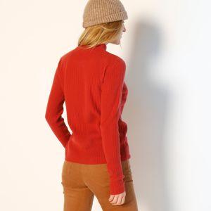 Blancheporte Žebrovaný pulovr se stojáčkem, délka cca 63 cm cihlová 38/40