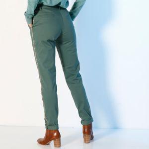 Blancheporte Chino kalhoty, třpytivé lampasy zelená jedlová 52