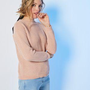 Blancheporte Žinylkový pulovr s kulatým vzorem šedorůžová 34/36